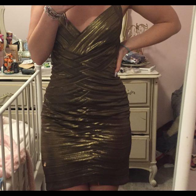 BCBG Gold Dress