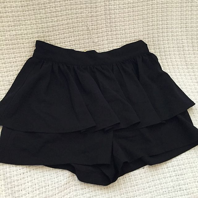 Black High Waisted Peplum Shorts