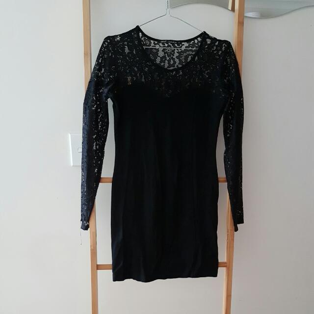 Black Lace Top Long Sleeve Dress