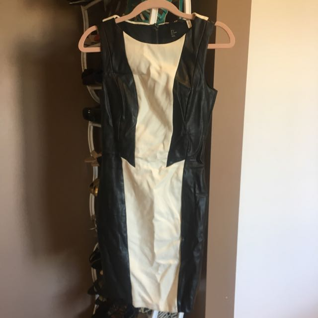 Black Leather Detail Dress