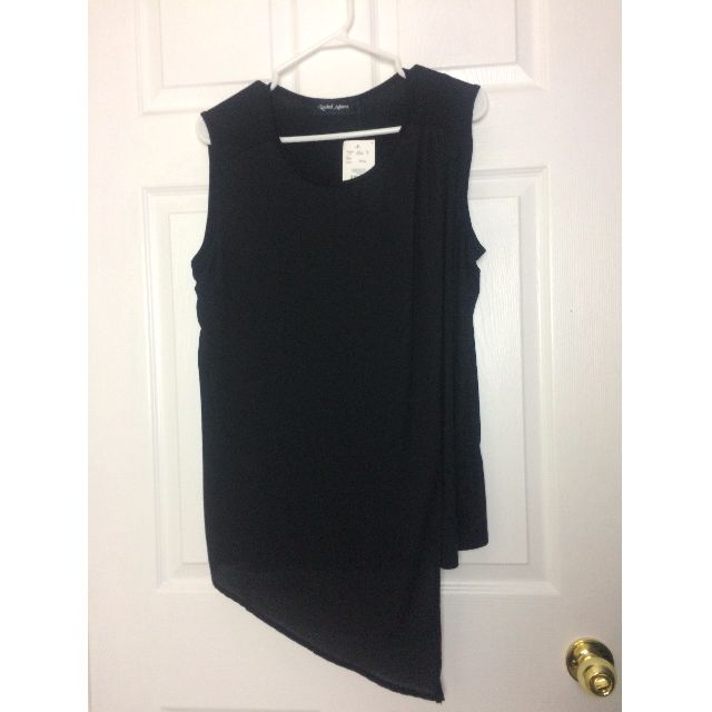 Black Tank Top with Sheer Draping in Front