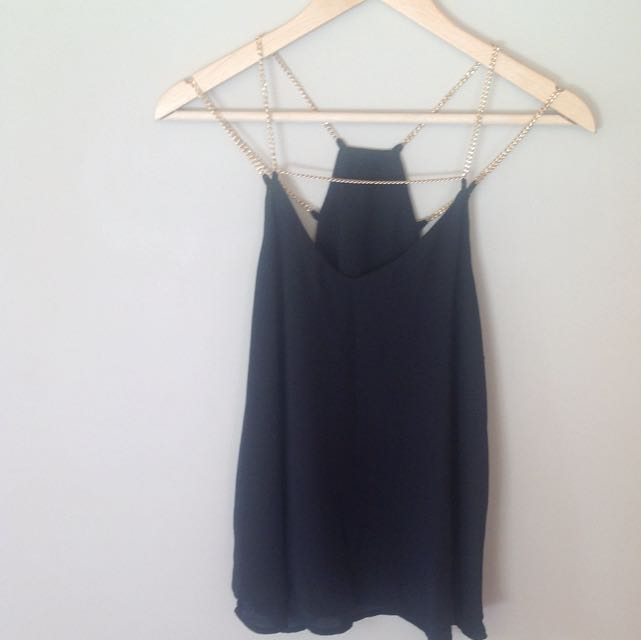 Black Top with Gold Chain Straps