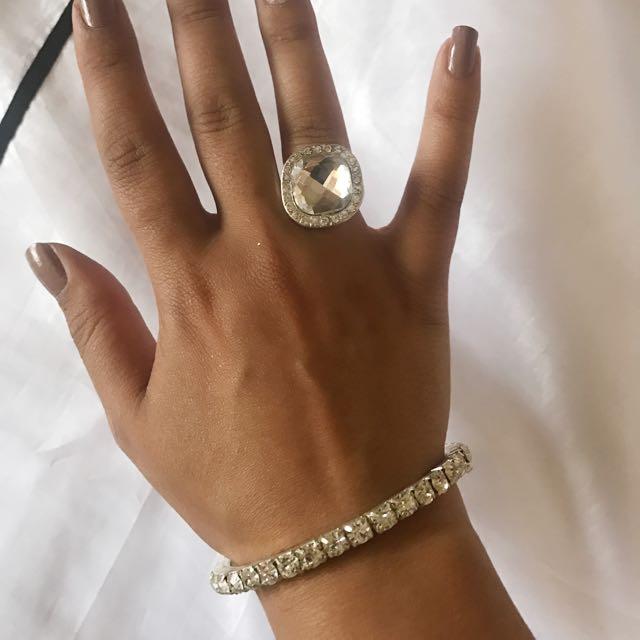 Bling Ring And Bangle Set