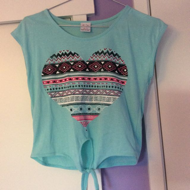 Blue Cropped Top Heart Aztec