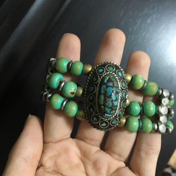 Boho green blue bracelet