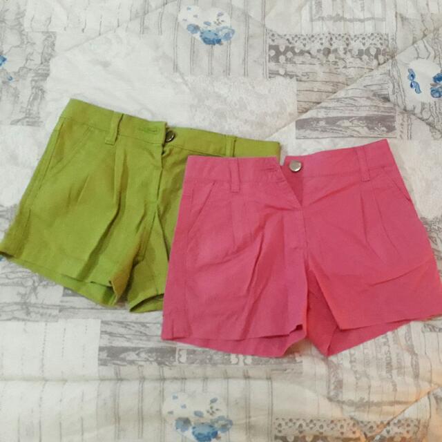 Celana Pendek Anak Perempuan Set 2 Pink Dan Hijau Size 4 Tahun