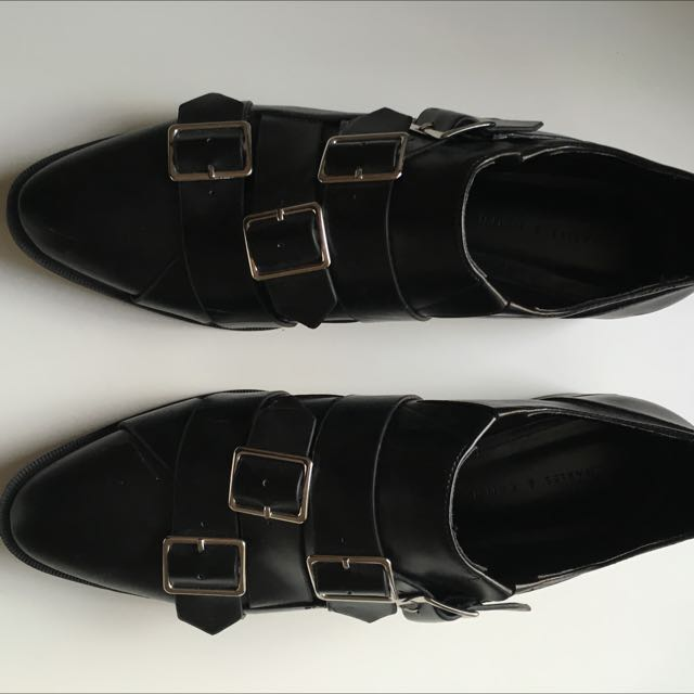 Charles & Keith Black Buckle Shoes