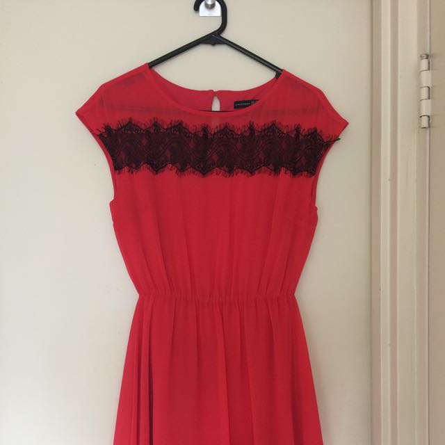 Coral Red Dress With Leave Details