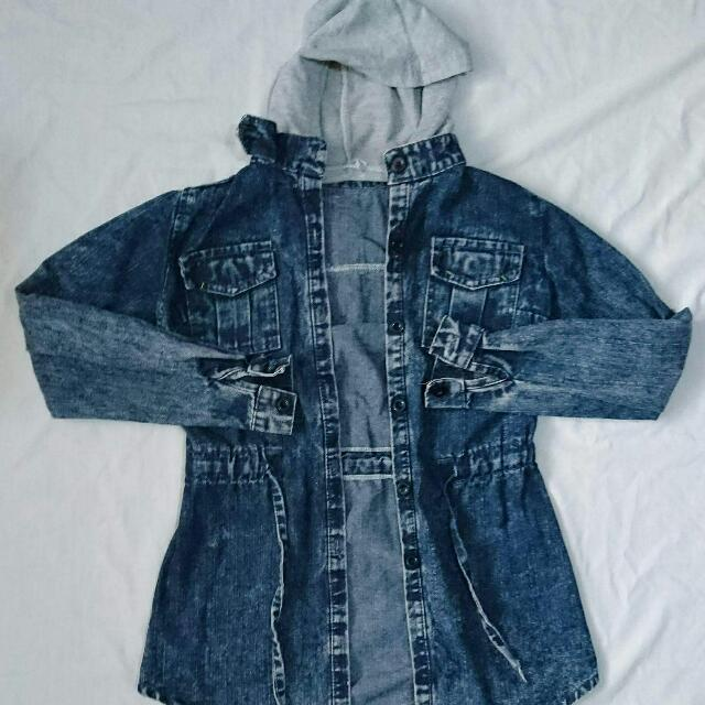 Denim hooded parka