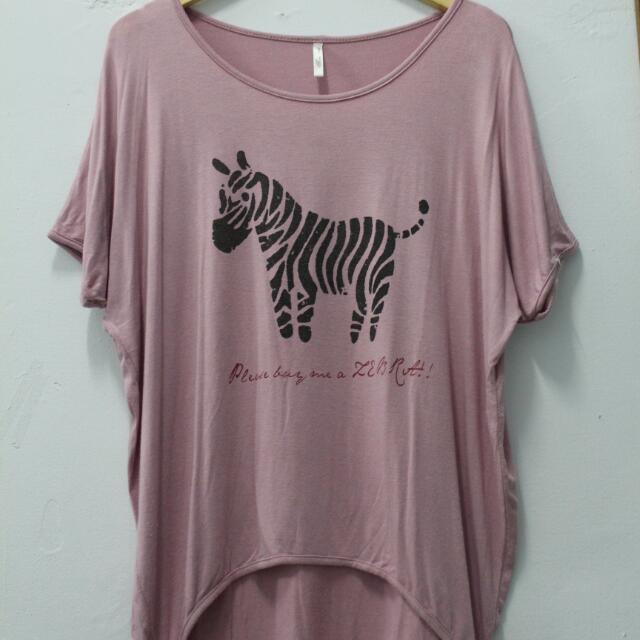 Dusty Pink Zebra Tshirt