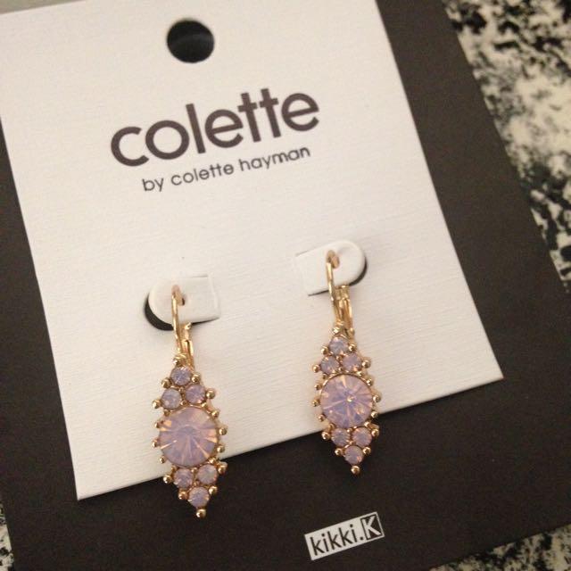 Brand New Dusty Rose Small Drop Earrings By Colette Hayman