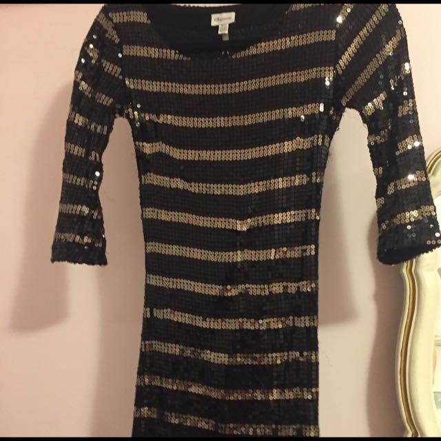 Dynamite Stripped Sequin Dress