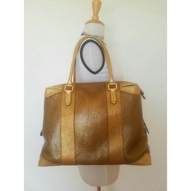 Fendi Gold & Bronze Designer Leather Bag
