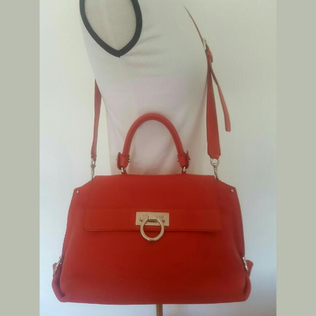 Ferragamo Sofia Bag In Lava Orange / Red Designer Bag