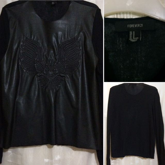 Forever21 Front Leather Long sleeves
