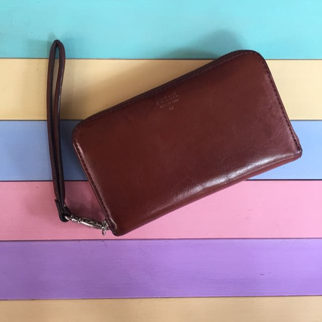 Fossil Leather Wallet Brown Authentic