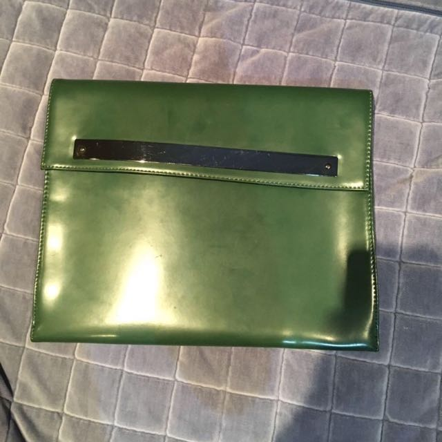 Green Bag with metal lace belt