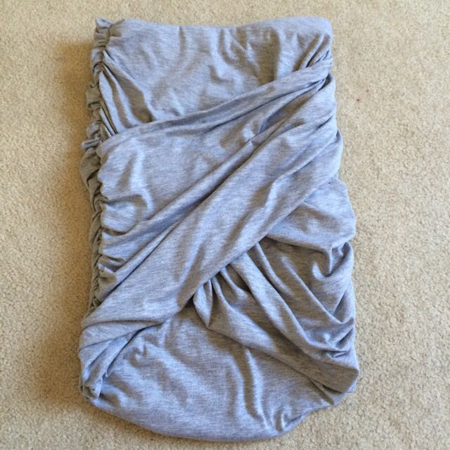 Grey Gathered Mini Skirt