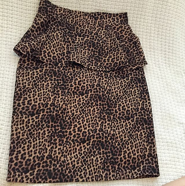 High Waisted Peplum Leopard Print Skirt
