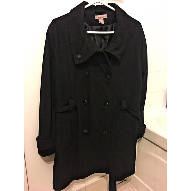 H&M+ Black Coat With Strap