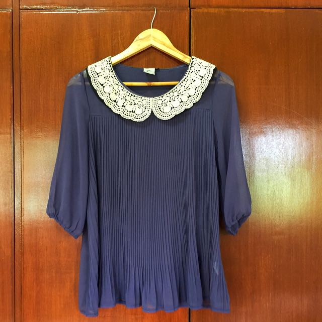 Kashieca Blue Blouse With Lace