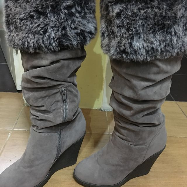 Knee high wedge Boots