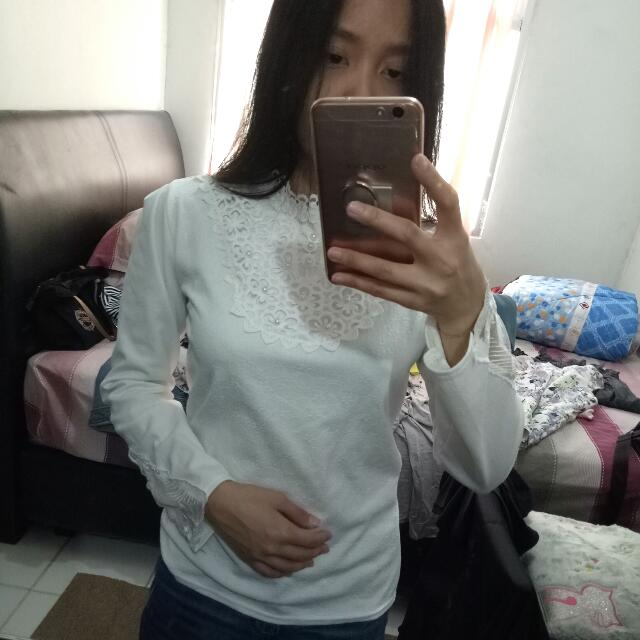 korean white blouse