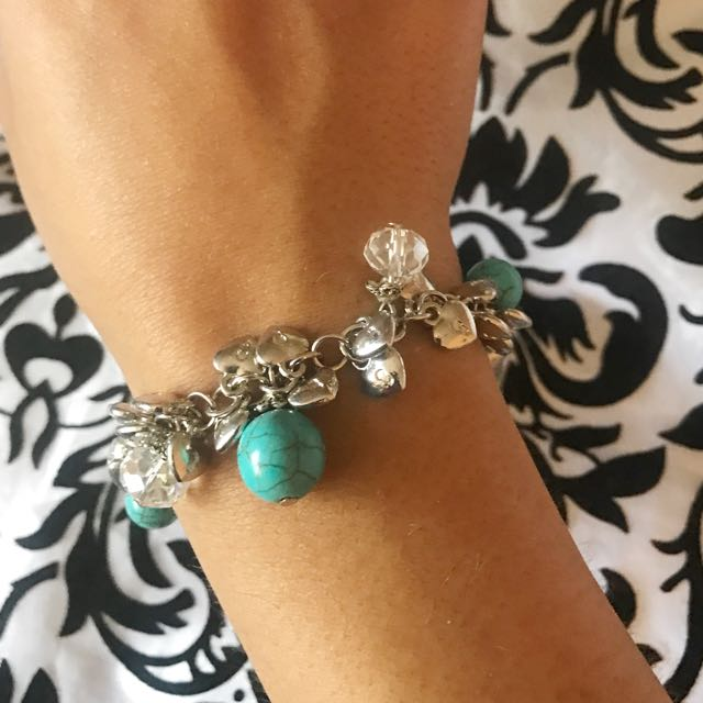 Love Locket And Turquoise Stone Detail Bracelet