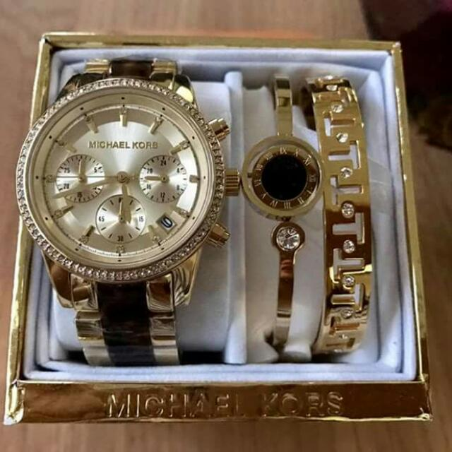 Michael Kors Watch And Banglet Set