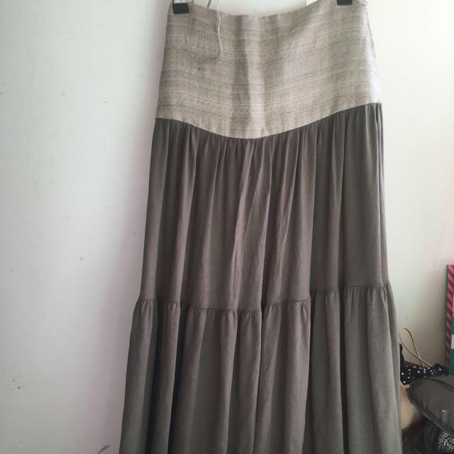 Militar green Long Skirt