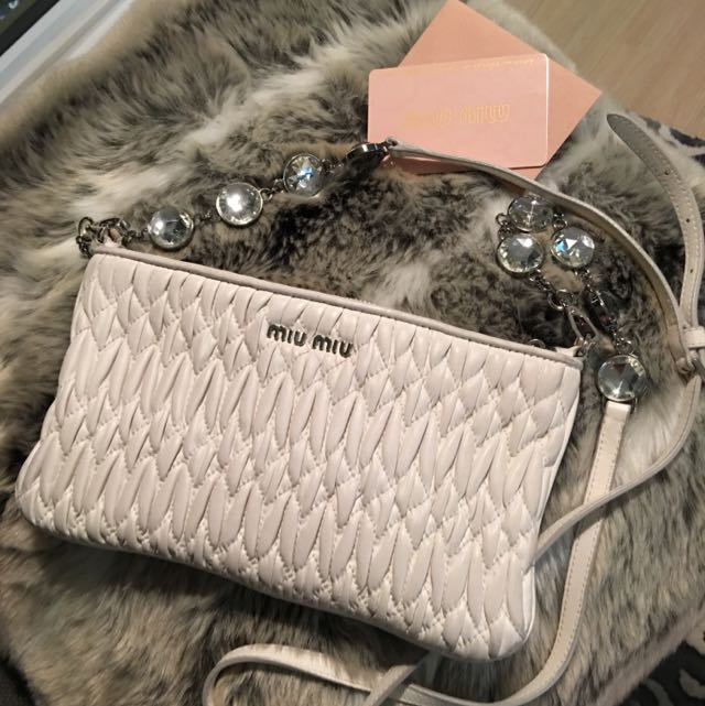 MIUMIU Crystal shoulder Bag Clutch Matelasse Leather WHITE