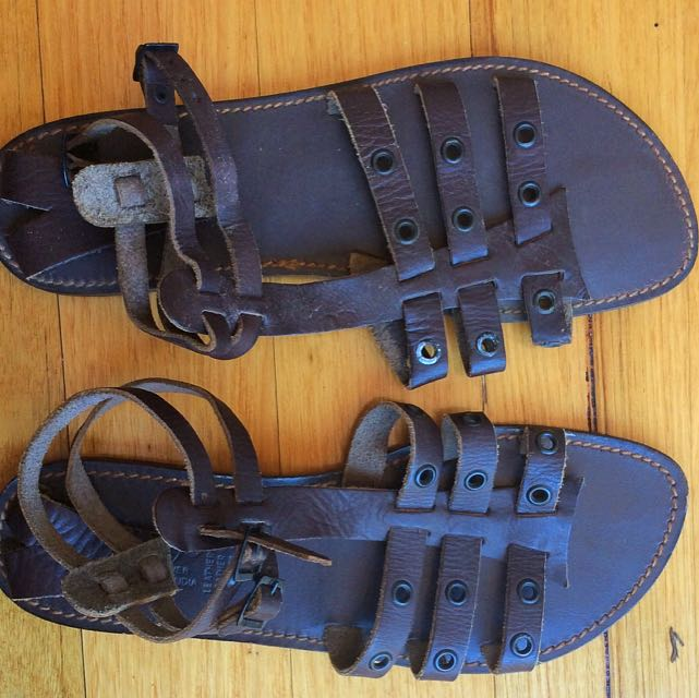 New Vintage 1970's Leather Sandals Brown