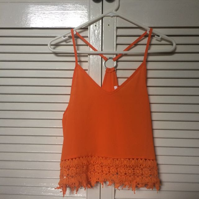 Orange Bohemian Crochet Top