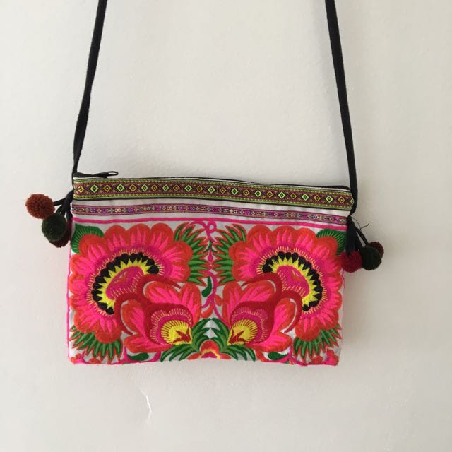 Pink Boho Embroidered Bag