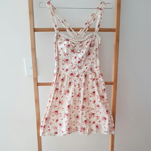 Pink Floral Dress With Cross Back