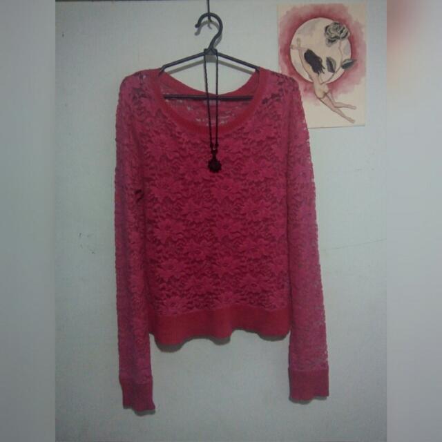 Pink lace sweatshirt (size M)