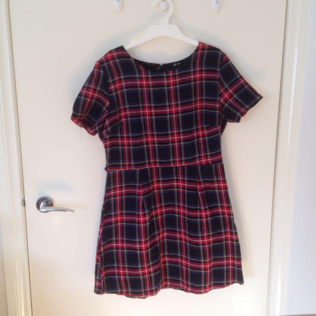 Plaid Smock Tshirt Dress