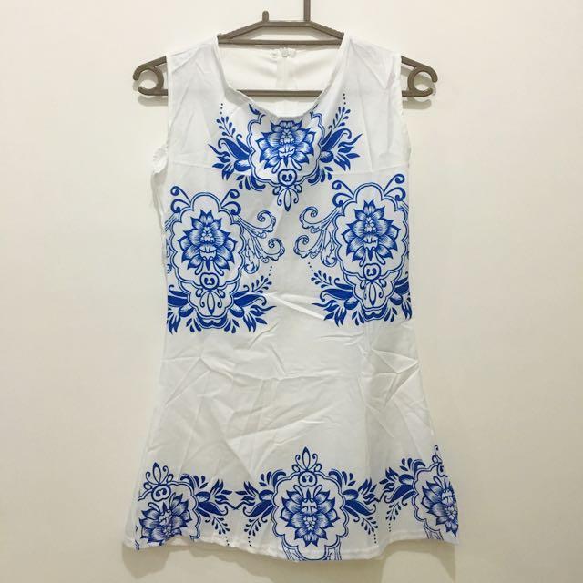 Printed White Mini Dress
