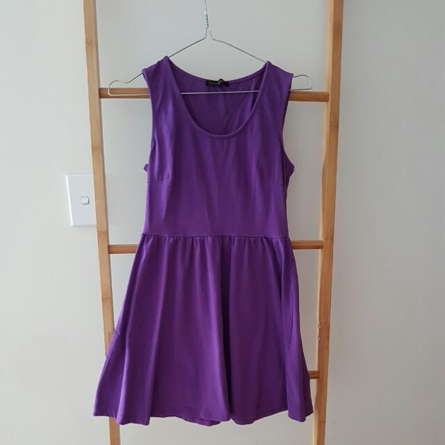 Purple Stretch Skater Dress