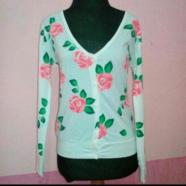 Red Roses On White Cardigan
