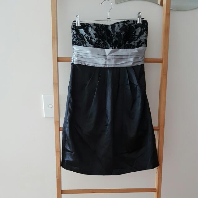 Strapless Black Satin Lace Top Ribbon Waist Dress