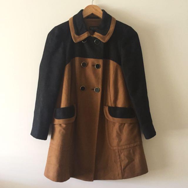 Topshop Black & Brown Wool Coat