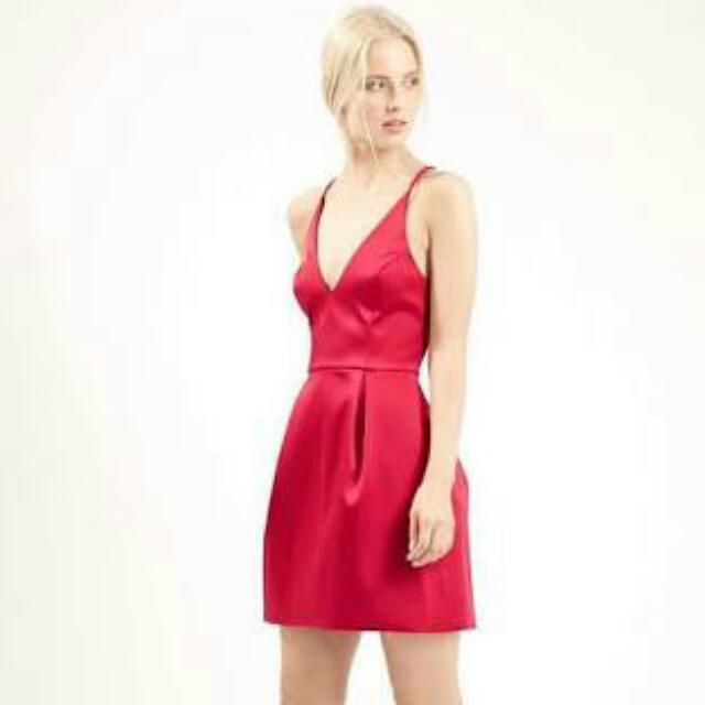 TOPSHOP Red Satin Plunge Dress