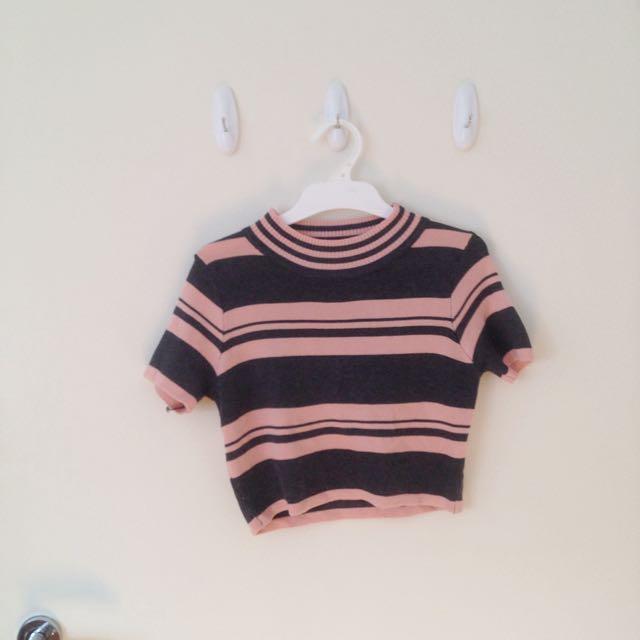 Valleygirl Striped Crop Top Pink Grey