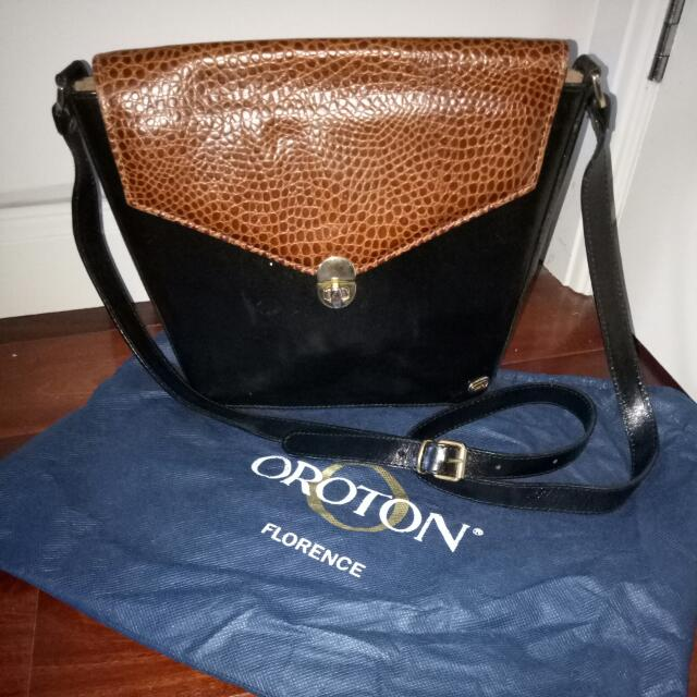 eac23f351e3 RARE Vintage Oroton Geniune 100% Leather Black And Tan Womens / Ladies Side  Handbag With Gold Hardware, Women's Fashion, Bags & Wallets on Carousell