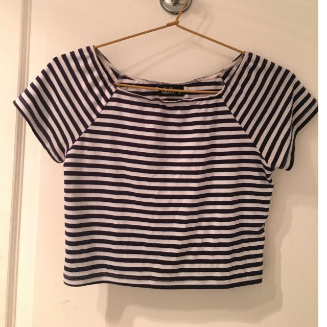 White and blue striped crop top