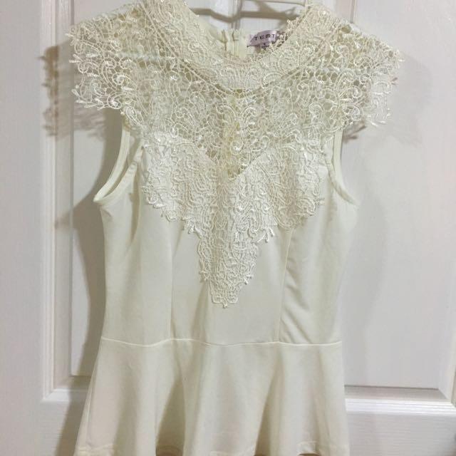 White lace peplum Temt size 8