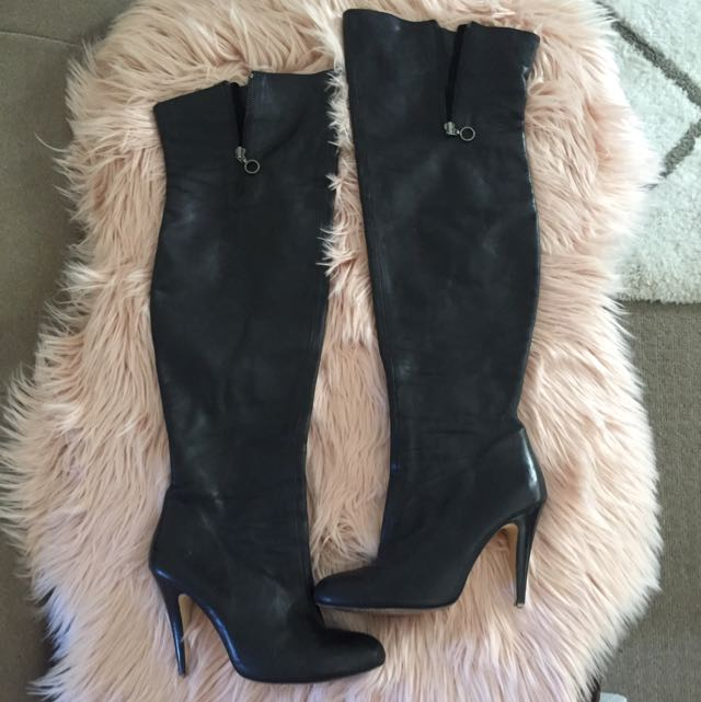 Wittner Black Leather Knee High Boots