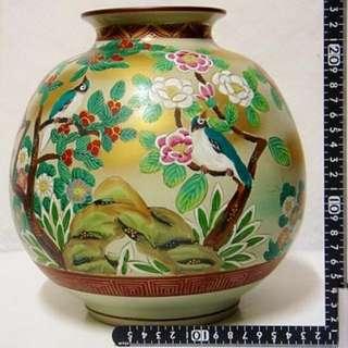日本製 九谷燒 翠鳥花瓶