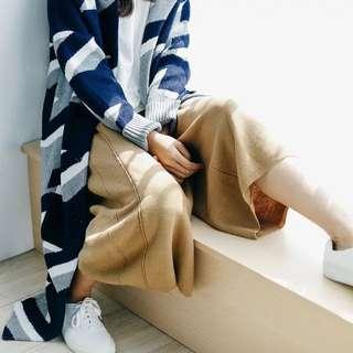 文藝寬鬆針織七分闊腳褲